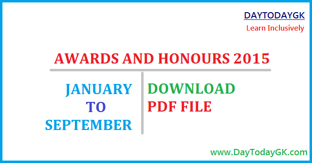 Awards and Honours 2015 PDF