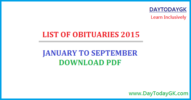 List of Obituaries 2015 PDF