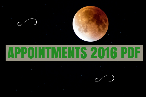 List of Appointments 2016