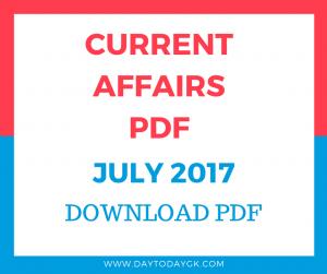 Current Affairs July 2017 PDF