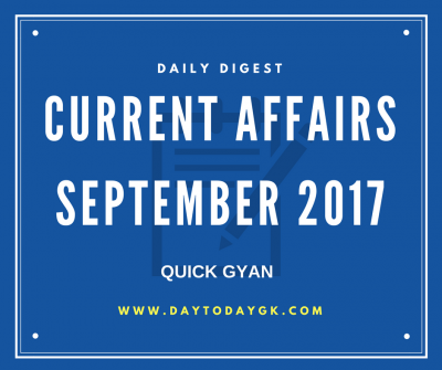 Current Affairs September 2017